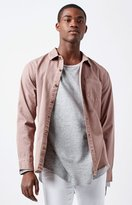 PacSun Solid Twill Long Sleeve Button Up Shirt
