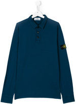 Stone Island Junior - logo patch polo shirt - kids - Cotton/Spandex/Elastane - 14 yrs