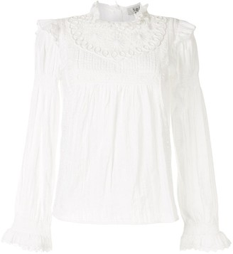 Sea Embroidered Lace Cotton Blouses