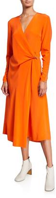 Rag & Bone Odette Long-Sleeve Silk Wrap Dress