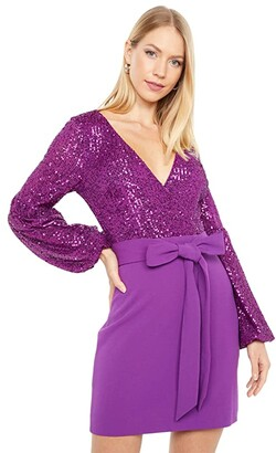 ONE33 SOCIAL Volume Sleeve Retro Sequin Combo Party Dress (Orchid) Women's Dress