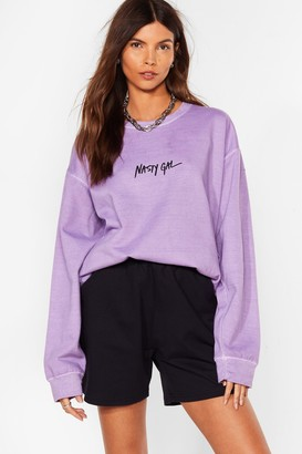 Nasty Gal Womens Word on the Street Relaxed Sweatshirt - Lilac