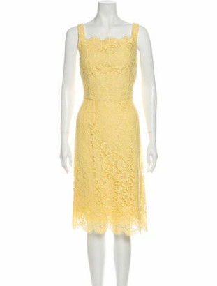 Dolce & Gabbana Lace Pattern Midi Length Dress Yellow