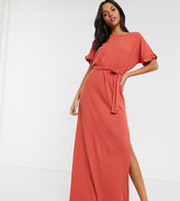 Asos Tall DESIGN Tall frill sleeve belted maxi dress in rust
