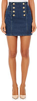 Balmain Women's Stretch Cotton Double-Breasted Miniskirt-BLUE