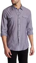 John Varvatos Spread Collar Slim Fit Utility Shirt