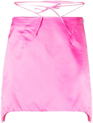 Helmut Lang Self-Tie Waist Satin Mini Skirt