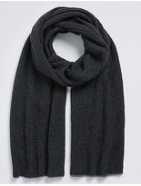 M&s Collection Pure Cashmere Knitted Rib Scarf