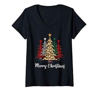Buffalo David Bitton Womens Merry Christmas Trees with Plaid & Leopard Design V-Neck T-Shirt