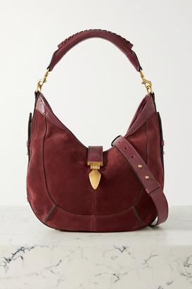 Isabel Marant Kaliko Leather-trimmed Suede Shoulder Bag - Claret