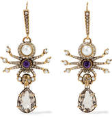 Alexander McQueen Gold-tone, Swarovski Crystal And Faux Pearl Earrings
