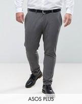 Asos Plus Super Skinny Suit Trousers In Salt & Pepper