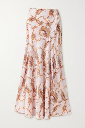Paco Rabanne Paisley-print Satin Maxi Skirt - Blush