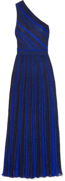 Missoni One-shoulder Striped Metallic Crochet-knit Gown