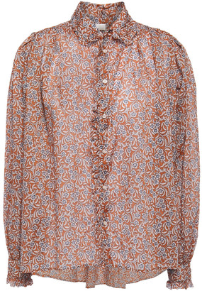 Maje Calys Ruffle-trimmed Floral-print Cotton-voile Shirt