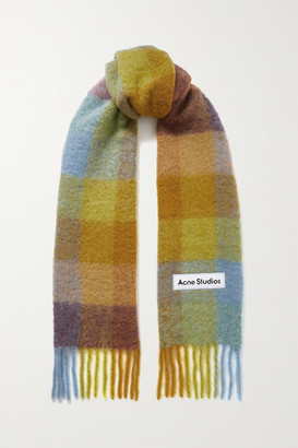 Acne Studios Fringed Checked Knitted Scarf - Yellow