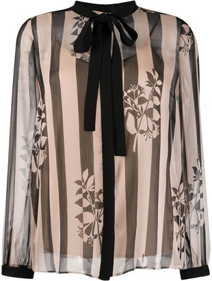 Twin-Set Sheer Striped Print Blouse