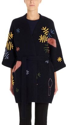 Tory Burch Embroidered Belted Wrap Cardigan
