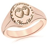 Laura Lee Jewellery Women's 9ct Rose Gold Love Unites Us Signet Ring - Size L