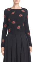 Comme des Garcons Women's Rose Embroidered Wool Sweater
