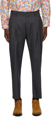 4SDESIGNS Navy Wool Check Triple Pleat Trousers