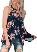 Maxwell Women's Mint Floral Print Flowy Tank Top Straps Cami Blouse Loose T-shirt