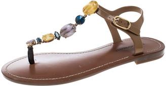 Dolce & Gabbana Multicolor Crystal Embellished Ankle Strap Flat Thong Sandals Size 38