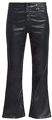 AG Jeans Women's Quinne Cropped Flare Leatherette Jeans