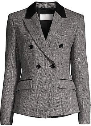 HUGO BOSS Jakuba Herringbone Faux Leather-Trim Wool Jacket