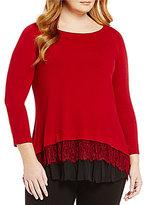 Karen Kane Plus Crew Neck Scalloped Lace Inset Sweater