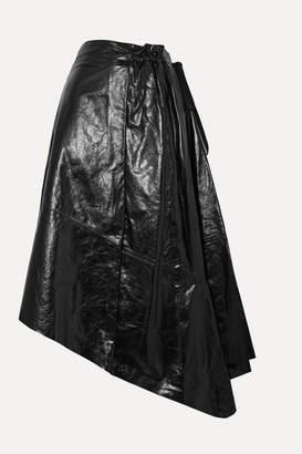Proenza Schouler Asymmetric Glossed-leather Midi Skirt - Black
