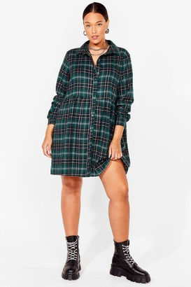 Nasty Gal Womens Smock It Off Plus Check Dress - Green - 16, Green