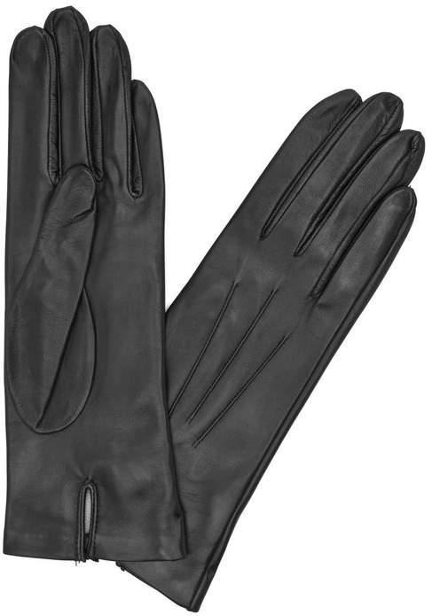 Dents Black Silk-lined Leather Gloves