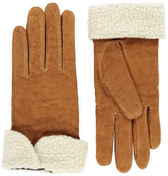 La Redoute Collections Leather Faux Fur Lined Gloves