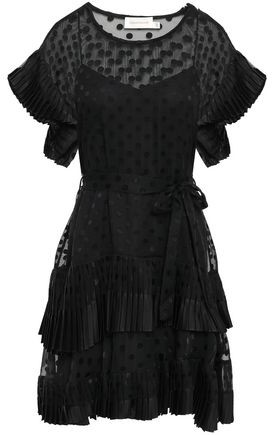 Zimmermann Pleated Tier Belted Fil Coupe Chiffon Mini Dress
