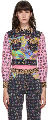 Versace Jeans Couture Multicolor Denim Mix Print Jacket