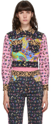 Versace Multicolor Denim Mix Print Jacket