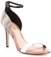 Gianni Bini Shaylah Two Piece Lizard Print Patent Leather Ankle and Vamp Strap Dress Sandals
