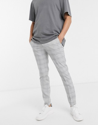 Jack and Jones Intelligence slim fit smart check trousers in light grey