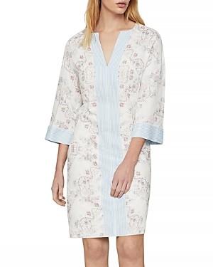 BCBGMAXAZRIA Contrast Trim Floral Print Tunic Dress