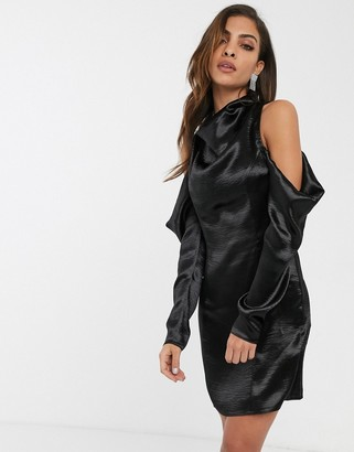Asos DESIGN cold shoulder satin mini dress