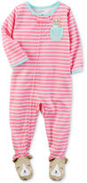 Carter's 1-Pc. Puppy-Pocket Striped Footed Pajamas, Baby Girls (0-24 months)