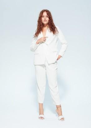 MANGO Violeta BY Straight suit pants white - M - Plus sizes