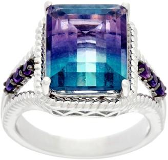 Emerald Cut Bi-Color Fluorite & Amethyst Sterling Ring