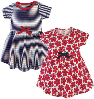 Touched by Nature Girls' Casual Dresses Red - Red Floral & Navy Stripe A-Line Dress Set - Newborn, Infant, Toddler & Girls