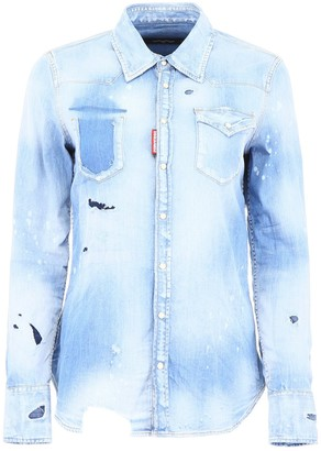 DSQUARED2 Distressed Button-Up Shirt
