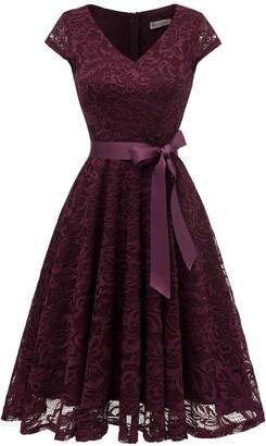 BeryLove Women's Short Lace Bridesmaid Dress Formal Cocktail Party Dress Cap Sleeve Belt BLP7006WhiteL
