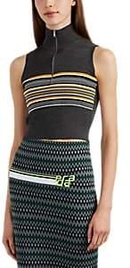 Prada Women's Striped Rib-Knit Silk-Wool Crop Top - Gray