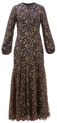 Rebecca De Ravenel Sofia Balloon Sleeve Metallic Lace Gown - Womens - Navy Gold