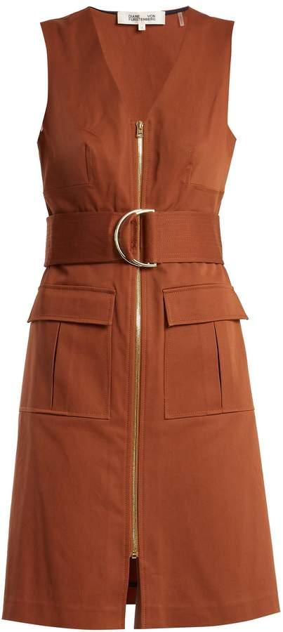 Diane von Furstenberg V-neck patch-pocket cotton-blend dress